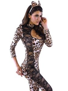 Sexy Overall Leopard Catsuit Wet Look Costume