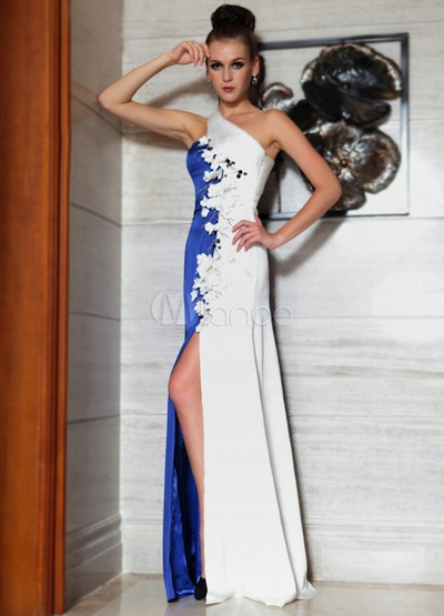 Royal Blue One-Shoulder Embroidered Beading Chiffon Evening Dress