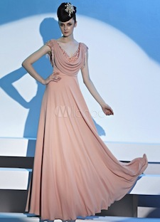 Elegant Pink V-Neck Pleated Polyester Woman's Ball Gown