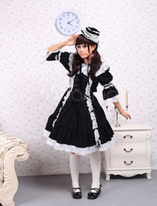 Cotton Black Long Sleeves Classic Lolita Dress