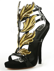 Black Suede Leather Metallic Strappy T-Strap Stiletto Heel Women's Dress Sandals